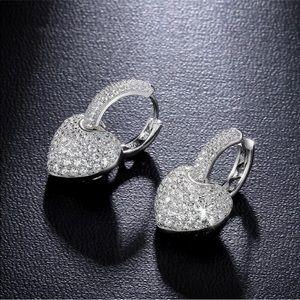 Stunning 925 Silver White Sapphire Heart Earrings